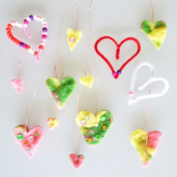 Felted heart ornaments and pipe cleaner bead hearts