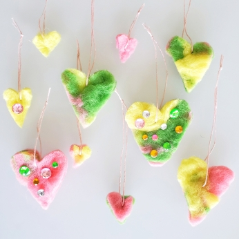 Felted heart ornaments
