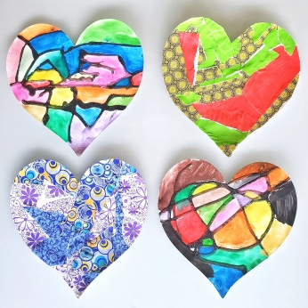 Mosaic and torn paper hearts