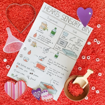 Sensory bin visual recipe