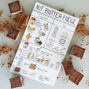 Nut butter, cocoa, banana fudge visual recipe