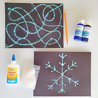 Salt and glue art science experiment